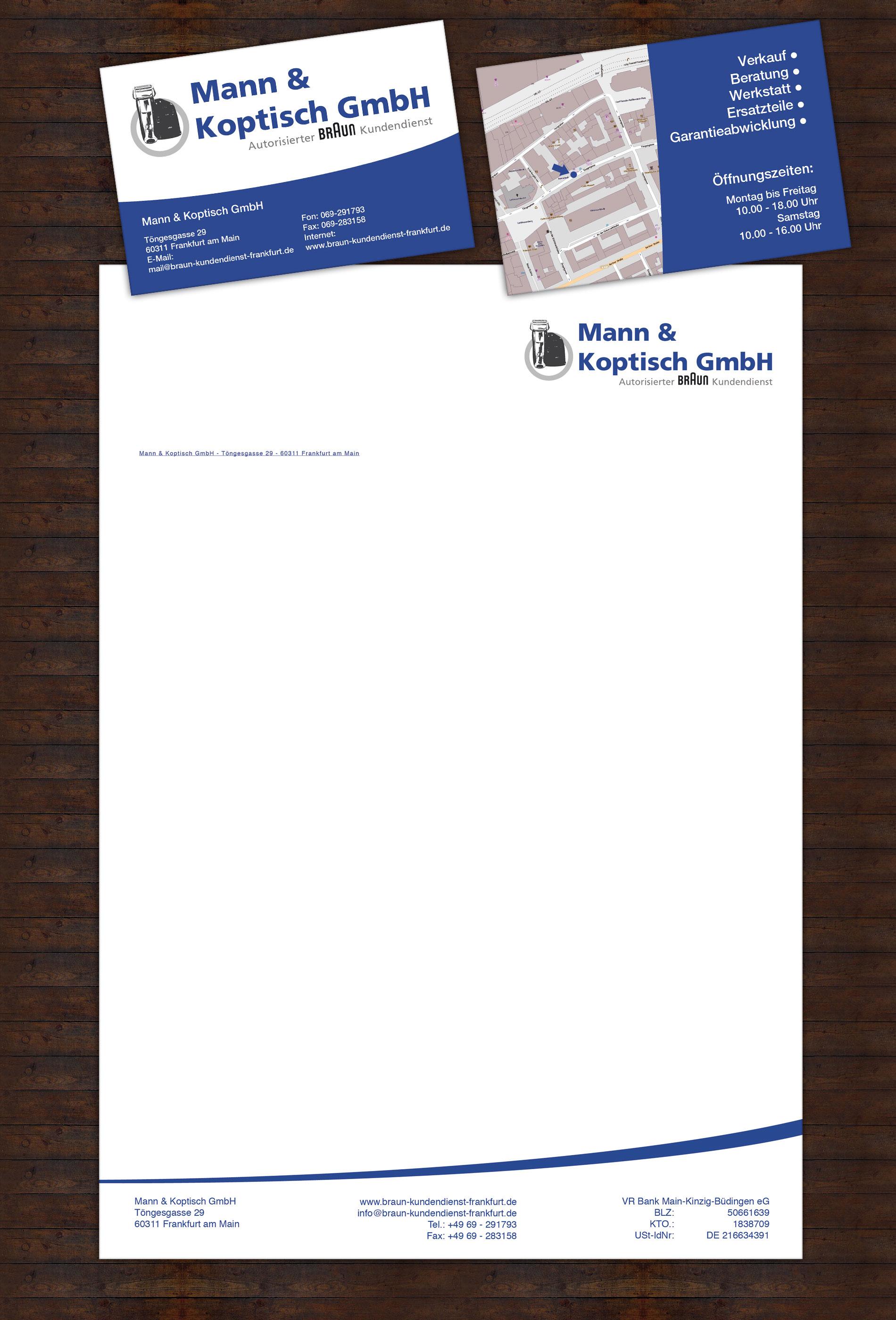 Logo Visitenkarte Braun Kundendienst Frankfurt
